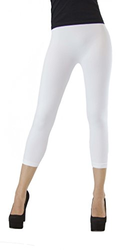 D&K Monarchy Seamless Thin Capri Length Leggings White XS Small (Tights Footless White)