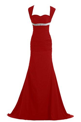Toscana novia Chic Rueckenfrei sirena gasa largo bola de fiesta a vestidos de noche vestidos Rojo