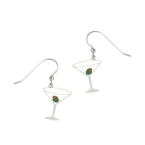 Sienna Sky Artisan Martini Glass with Olive Earrings with Gift Box