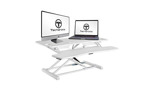"""Standing Desk Converter Computer Table: Stand Up Desk Riser - Sit Stand Desk - 37"""" Wide Dual Monitor Desktop for Standing Desks - Height Adjustable Desk Workstation Converts to a Standup Desk - White"""