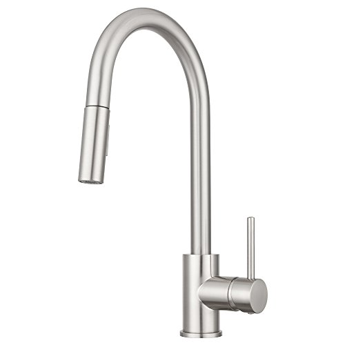 Faucet Lever America Single Kitchen (Bellevue Kitchen Faucet by Pacific Bay (Brushed Satin Nickel) - Features an In Line Pull Down Sprayer with Multiple Spray Functions and an Eco Friendly Water and Energy Saver)