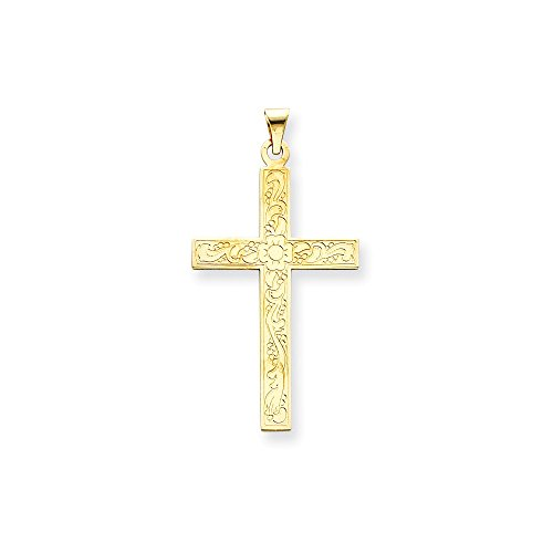 (14k Yellow Gold Etched Floral Design Cross Pendant 2.37g Mother's Day)