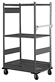 """Equipto 4583 V-Grip 3-Shelf Wire Shelving Cart with Standard Duty Casters, 18 Gauge Steel, 500 lbs Capacity, 36"""" W x 54"""" H x 18"""" D, Smooth Office Gray"""