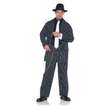 Underwraps Men's Plus-Size Pinstripe Zoot Suit, Black/White, (Gangster Zoot Suit Black Costumes Tie)
