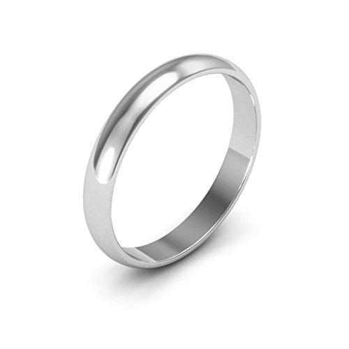 Platinum men's and women's plain wedding bands 3mm half round light, 7.5