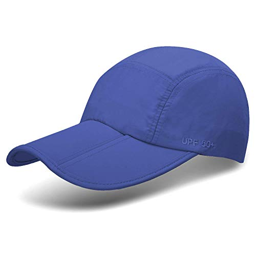 Unisex Foldable UPF 50+ Sun Protection Quick Dry Baseball Cap Portable Hats, Dark Blue