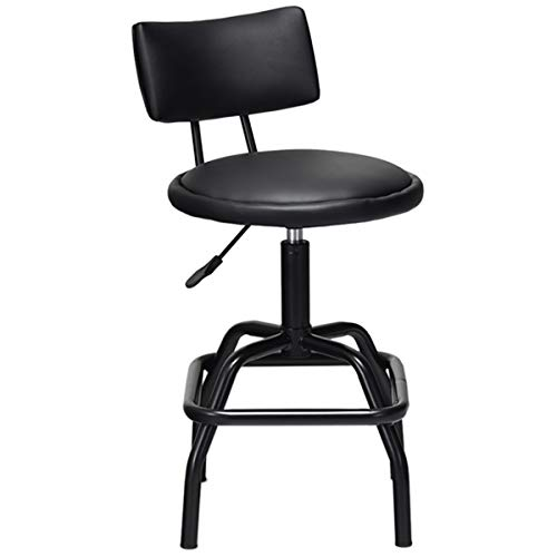 (COSTWAY Barstool, Modern Armless Comfortable Adjustable Hydraulic Heavy Duty Steel Frame Stool Bistro Pub, Modern PU Leather Cushion and Backrest for Home, Bar and Shop, Black (1 Retro Style Stool))
