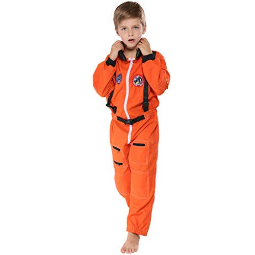 EraSpooky Kid's Astronaut Costume Spaceman Suit Boys Halloween Girls Costumes for Kids - Orange ()