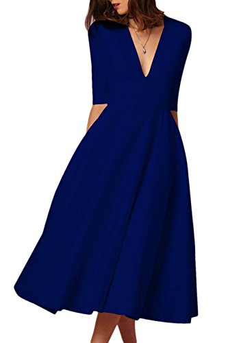 V manica con scuro a Women Fasumava Skater ballo Mezza Drop Elegant Dress Blu da Abiti scollo ZwwY81Bq