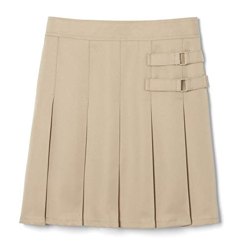 French Toast Big Girls' Two-Tab Pleated Scooter, Khaki, 7