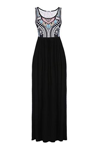 Meaneor Women's Summer Bohemian Retro Geometry Sleeveless Maxi Casual Dress (L, Black3)