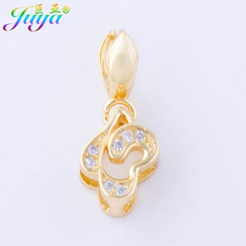 Laliva Handmade Jewelry Fitings Supplies Lucky Clover Pinch Clip Bail Hooks Accessories for Women Pearls Agate Earring Necklace Making - (Color: Gold, Size: 1 Piece)
