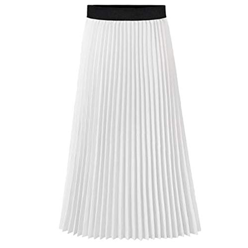 Howriis Women's Summer Chiffon Pleated A-line Midi Skirt Dress (Large, A White)