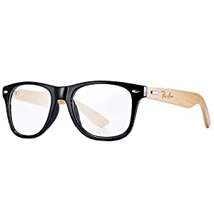 Pro Acme Classic Wayfarer Bamboo Sunglasses Wood Arms Clear Lens Glasses (Clear Lens)