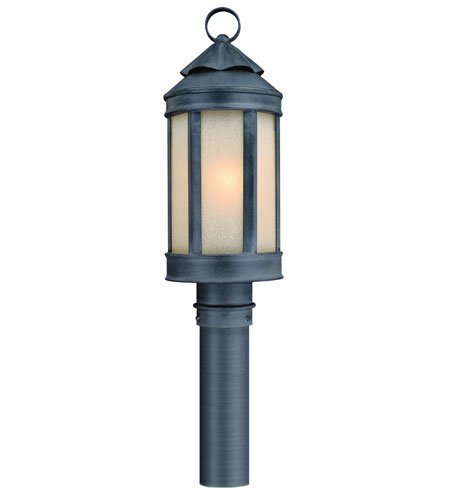 Outdoor Post 1 Light with Aged Iron Finish Hand Forged Iron Material Medium 7 inch Wide 100 Watts