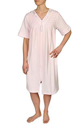 (Miss Elaine Women's Short Waffle Knit Zipper Robe, with Short Sleeves, and a V-Neckline Pink)
