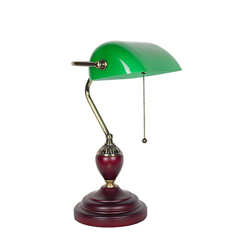 HQCC Traditional Banker's Lamp, Antique Style Emerald Green Glass Desk Light Fixture, Metal Beaded Pull Cord Switch Attached, E27 Screw Mouth (Color : 234212cm)