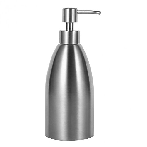 Konesky Countertop Soap Lotion Dispenser, Large Capacity Premium Stainless Steel Liquid and Lotion Dispenser Soap Container with Pump for Kitchen and Bathroom (500ml/ 17oz) -