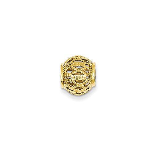 14K Yellow Gold Diamond-Cut Filigree Ball Charm Slide ()