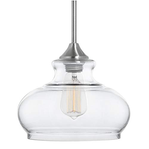 Ariella Ovale LED Kitchen Pendant Light Fixture - Brushed Nickel - Linea di Liara LL-P322-LED