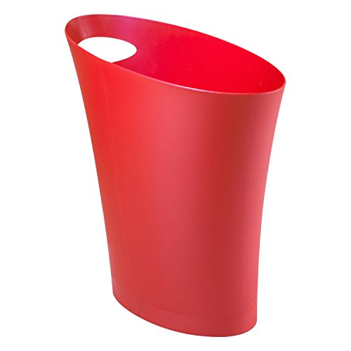 Bon Umbra Skinny Trash Can   Sleek U0026 Stylish Bathroom Trash Can, Small Garbage Can  Wastebasket For Narrow Spaces At Home Or Office, 2 Gallon Capacity, Red