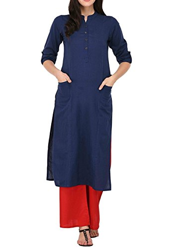 Ladyline Women's Pure Cotton Plain Tunic Top 3/4 Sleeves Roll-UP Button Neck With Pocket Long Kurti Kurta,Navy Blue,Chest: Body-36-37, Garment-40