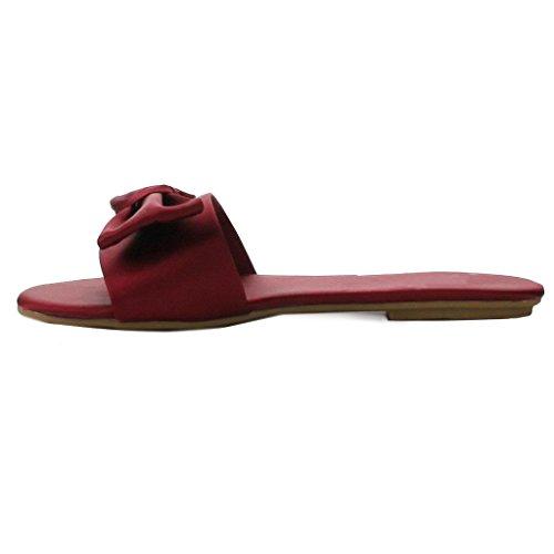 Scivolo Semplice Da Donna Con Cinturino Singolo Su Nastro Di Raso Di Vino Sandalo Piatto