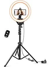 """$25 » 12"""" LED Ring Light with Stand and Phone Holder, Aureday 3000K-6000K Dimmable Selfie Ringlight for YouTube Video/Live Stream/Makeup"""