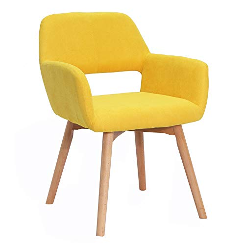 Modern Design Fabric Accent Chair Dining Chair W/Solid Wood Leg Living Room (Bright Yellow Set of 1) (Chairs Accent Yellow)