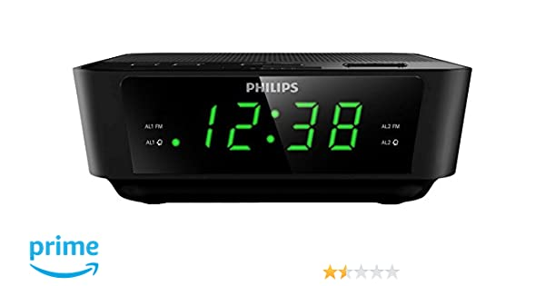 Philips AJ3116/12 - Radio despertador (doble alarma, snooze, FM Digital, sintonizador digital), negro: Philips: Amazon.es: Electrónica