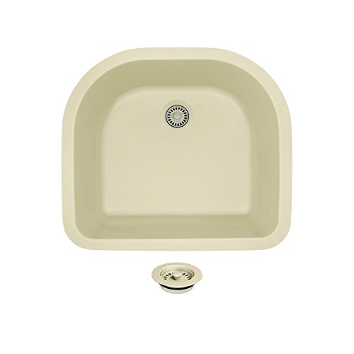 824 D-Shaped Single Bowl Quartz Kitchen Sink, Beige, Colored Flange by MR Direct