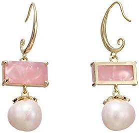 N/N Aretes Mujer Pendientes Colgantes De Cristal De Resina Rosada Perlas Naturales Pendientes De Cobre