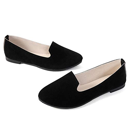 Stunner Women's Cute Round-Toe Flat Ballet Shoes Comfortable Dress Shoes Black 38(6.5)