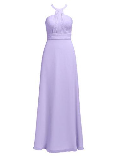 Evening Gowns Pleating Dresses Chiffon Long Prom Prom Halter Bridesmaid Alicepub Lilac 0nqWzAz