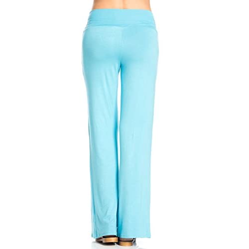 yibiyuan Womens Palazzo Pants High Waist Zipper Full Length Wide Leg Long Pants