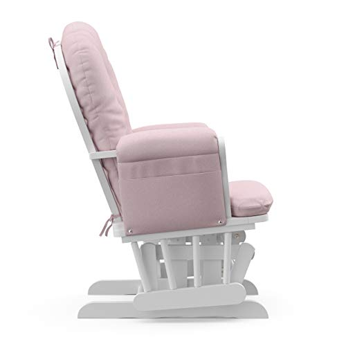 31F4%2BfLd7LL - Storkcraft Premium Hoop Glider And Ottoman (White Base, Pink Swirl Cushion) – Padded Cushions With Storage Pocket, Smooth Rocking Motion, Easy To Assemble, Solid Hardwood Base