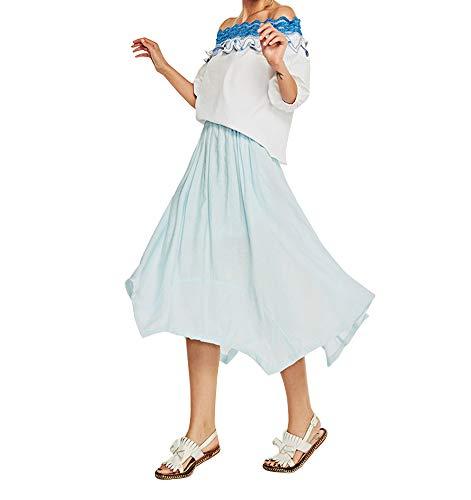 Unie Dcontracte avec Couleur Jupe Ciel Volants Bleu Femme Jupe Mi Jupes Longue Tnq6XU8xw