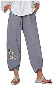 iOPQO Wide Leg Pants for Woman Cotton Linen Yoga Trousers Bohemian Harem Hippie Beach Pants with Pockets