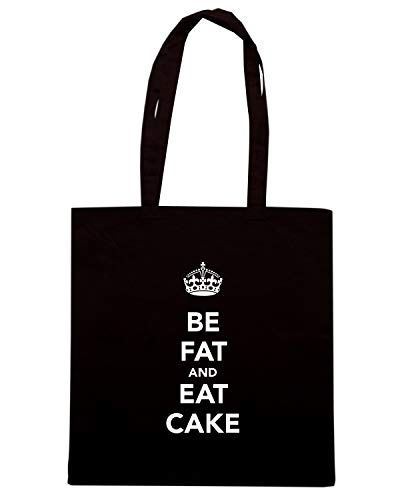 Speed Shirt Borsa Shopper Nera TKC3510 BE FAT AND EAT CAKE