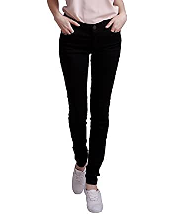 HDE Women's Jeans Jeggings Five Pocket Stretch Denim Pants (Black, Small)