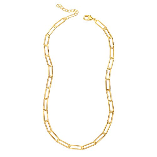 Reoxvo Gold Chain Necklaces for Women,18K Gold Plated Tennis/Paperclip/Cuban/Figaro/Snake Chain/Beaded Ball Chain…