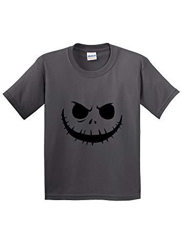 New Way 971 - Youth T-Shirt Jack Skellington Pumpkin Face Scary XL Charcoal -