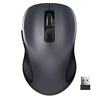Wireless Mouse, TedGem 2.4G Portable Computer Mouse Optical USB Mouse Cordless Mouse Ergonomic Mouse with USB Receiver 6 Buttons 3-Level DPI Laptop Mouse for Windows MacOS PC Laptop (Grey)