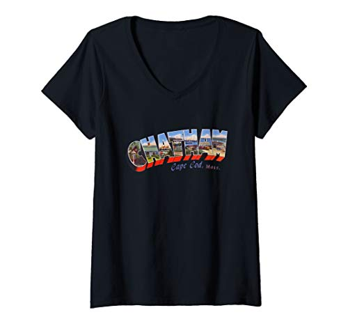 Womens Chatham Cape Cod Massachusetts MA Vintage Retro Souvenir V-Neck T-Shirt Chatham Cape Cod Ma
