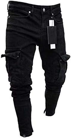 JPAKIOS スキニーバイカーメンズジーンズパンツ黒マルチポケットジッパースリムカーゴパンツジョギング用メンズヒップホップストリートデニムパンツS-4XL (色 : ブラック, サイズ : XXXL)