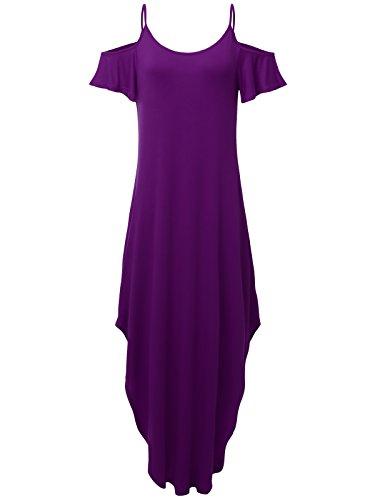 Prime Hot JayJay Women Casual U-Neck Off Shoulder Ruffle Sleeve Long Maxi Dress