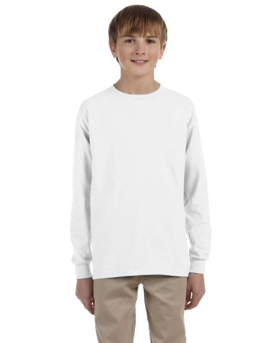 Jerzees Youth Heavyweight Blend Long-Sleeve T-Shirt, Medium, WHITE (Jerzees Youth Blend Heavyweight)
