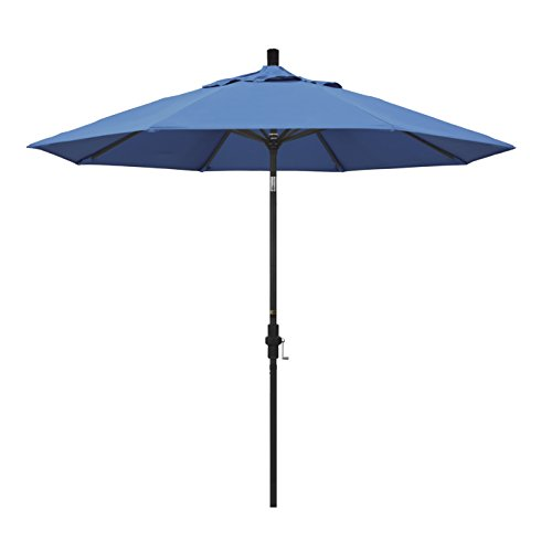 California Umbrella 9' Round Aluminum Market Umbrella, Crank Lift, Collar Tilt, Black Pole, Pacifica Capri