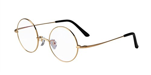 Agstum Pure Titanium Retro Round Prescription Eyeglasses Frame 44-24-140 (Gold, - Men For Of Glasses Frames Types