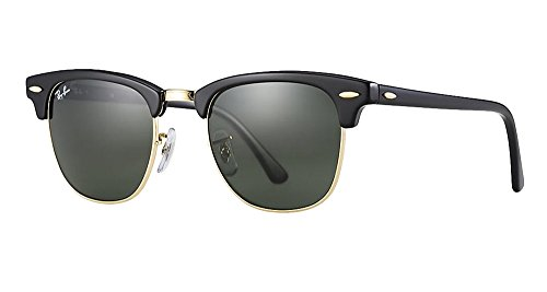 Ray Ban RB3016 Clubmaster Sunglasses (51 mm, Solid Black G15 - Clubmaster Black Ray Ban